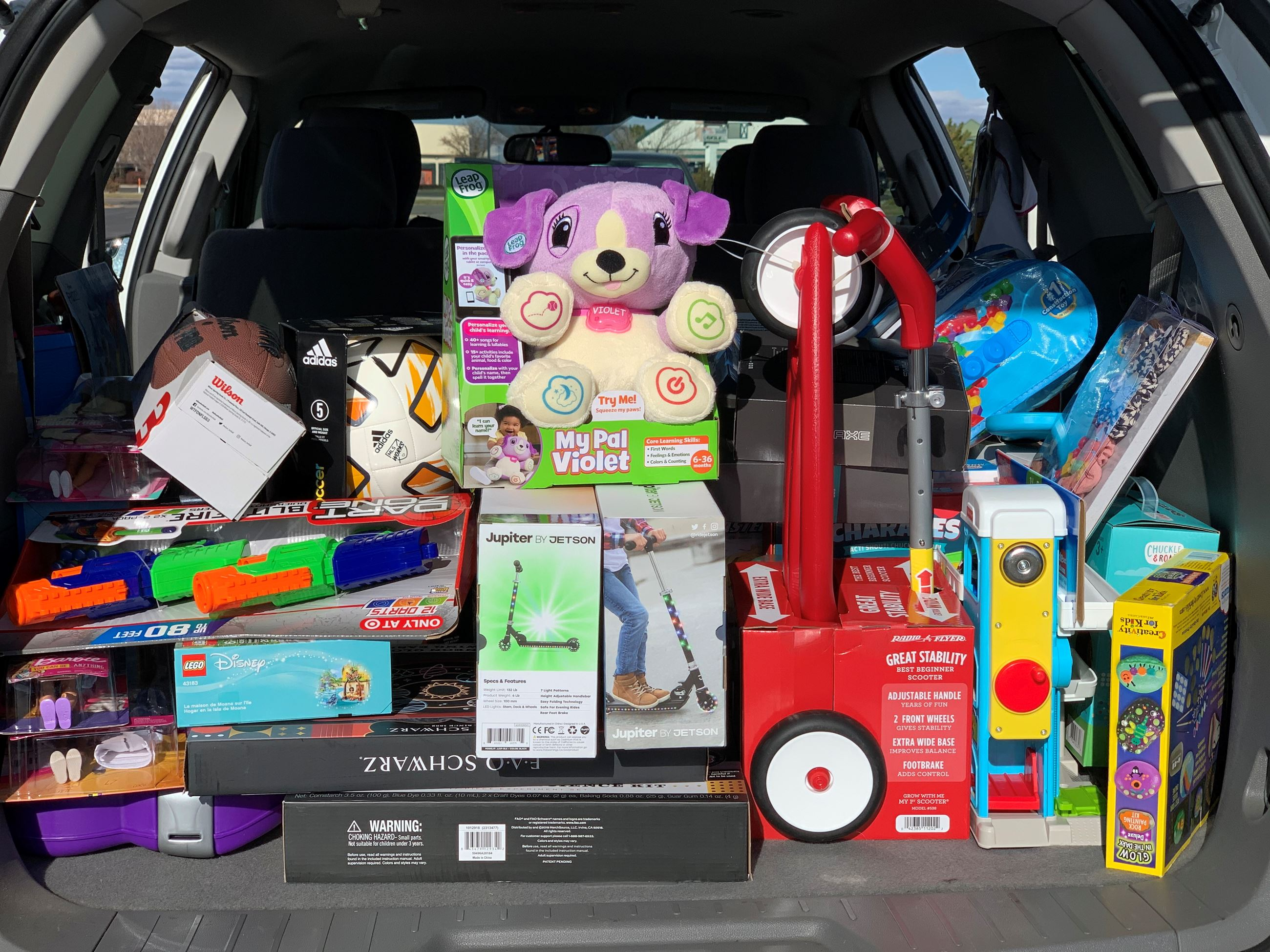 Trunk full of toy donations